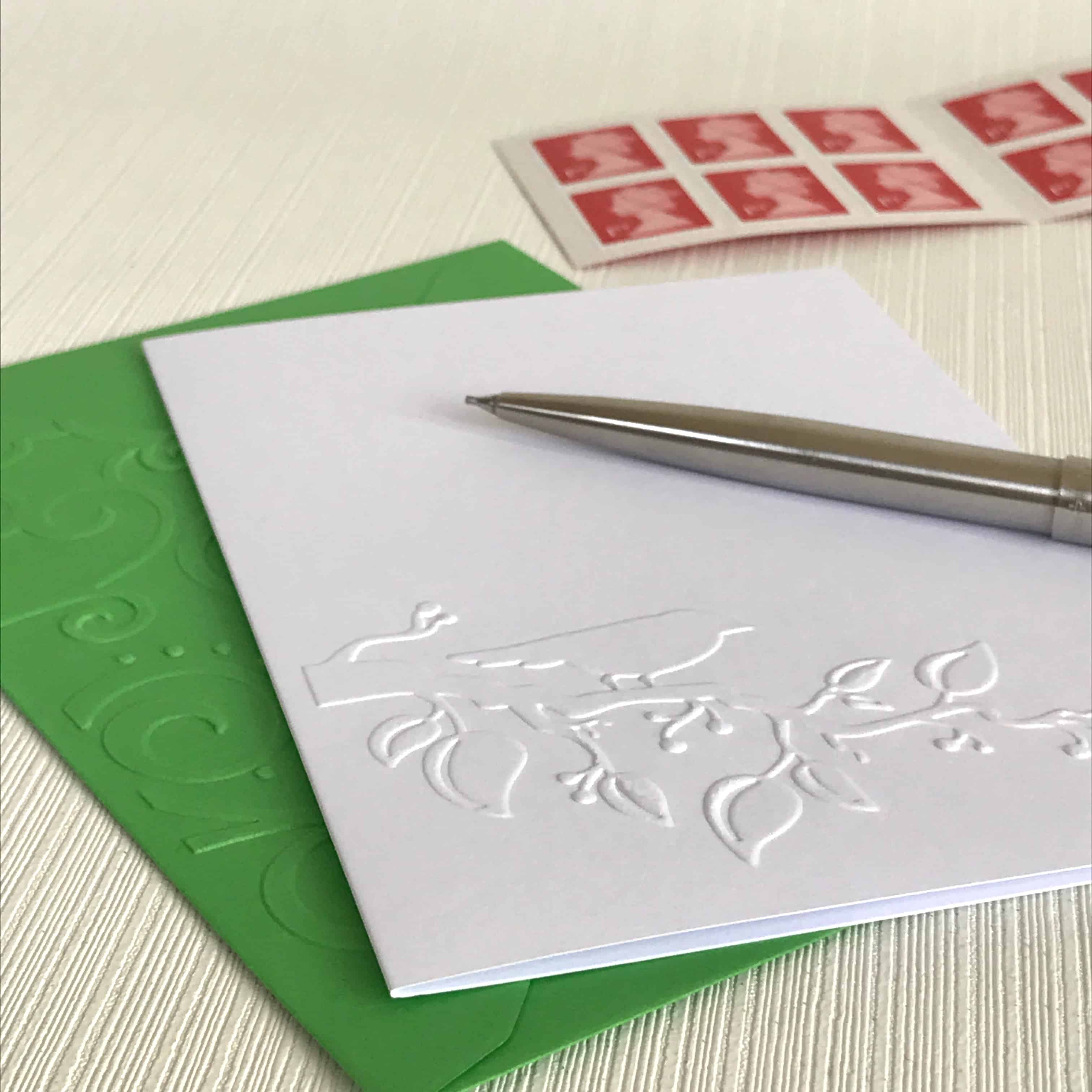 home embossed card - Embossed Note Cards
