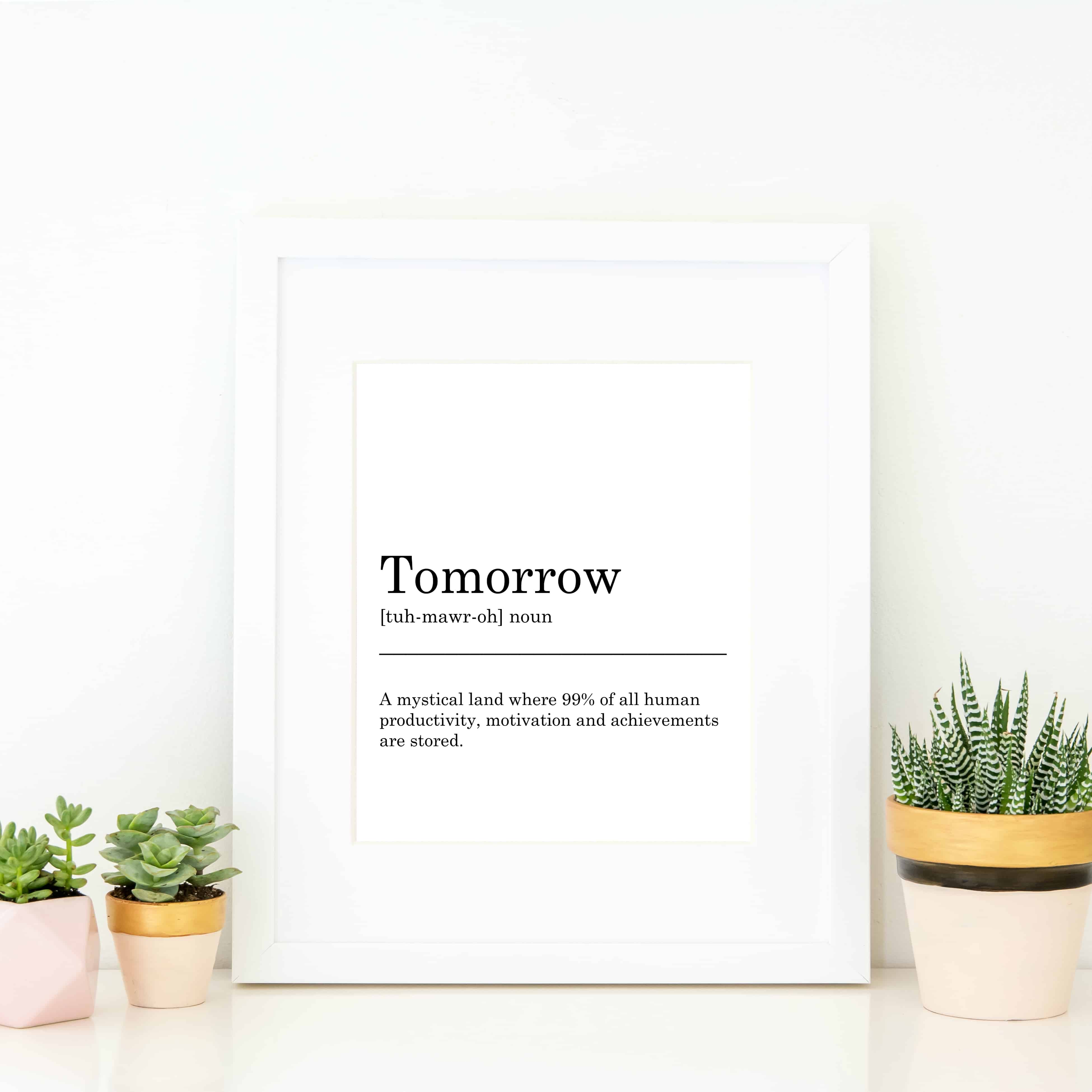 picture regarding Printable Wall Art known as Tomorrow Definition Printable Wall Artwork for yourself towards print at dwelling and body on your own.